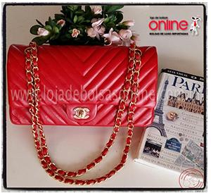 replica de bolsa chanel vermelha